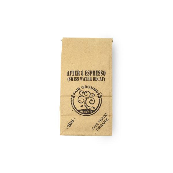 Fair Grounds Organic Fair Trade Coffee Roastery Etobicoke Mississauga-After 8 Espresso Decaf-half pound bag